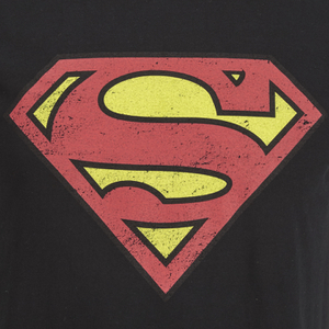 DC Comics Men's Superman Distress Logo T-Shirt - Black: Image 3
