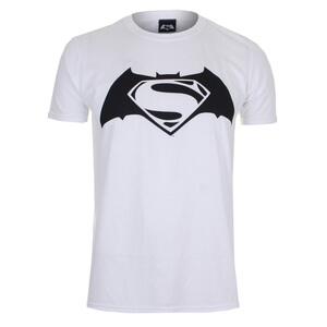 DC Comics Men's Batman v Superman Logo T-Shirt - White