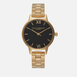 Olivia Burton Women's Midi Dial Watch - Black Dial/Gold Bracelet