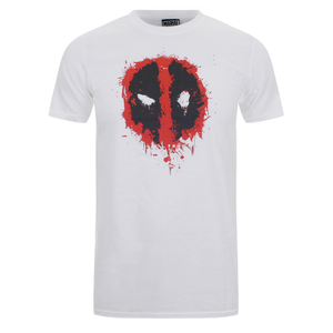 Marvel Men's Deadpool Paint Logo T-Shirt - White