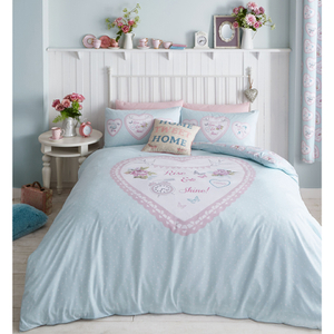 Catherine Lansfield Heart Panel Bedding Set - Duck Egg