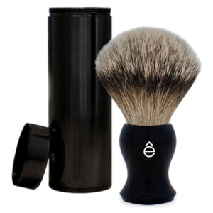 eShave Silvertip Badger Hair Travel Shaving Brush -mäyränkarvasuti ja matkakotelo, musta