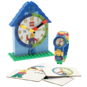 LEGO Time Teacher Blue Mini Figure Link Watch And Buildable clock