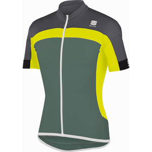 Sportful Pista Short Sleeve Jersey - Green/Yellow/Grey