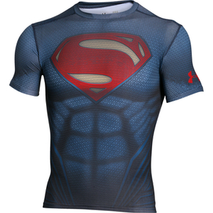 Under Armour Men's Transform Yourself Superman Compression Short Sleeve Shirt - Navy Blue