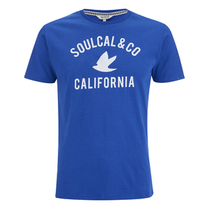 Soul Cal Men's Cracked Print T-Shirt - Cobalt Blue