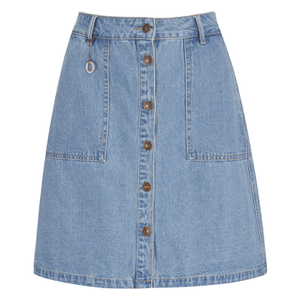ONLY Women's Farrah A-Line Denim Skirt- Light Blue Denim