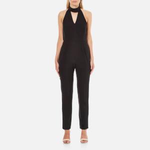 Lavish Alice Women's Keyhole High Neck Deep Plunge Jumpsuit - Black