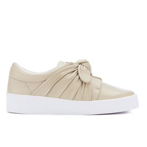 Senso Women's Annie Front Bow Leather Slip On Trainers - Sand