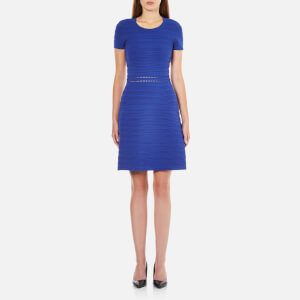 MICHAEL MICHAEL KORS Women's Ottoman Short Sleeve Crew Neck Dress - Royal