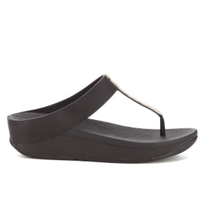 FitFlop Women's Barrio Leather Toe-Post Sandals - Black
