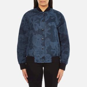 KENZO Women's Tenamie Flower Logo Back Denim Bomber Jacket - Blue