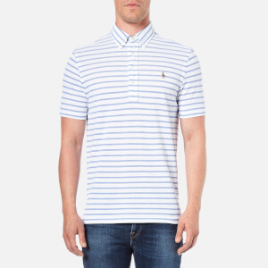 Polo Ralph Lauren Men's Stripe Cotton Polo Shirt - White/Indigo