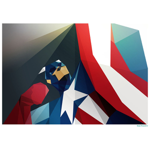 Affiche Géométrique Marvel Captain America -Fine Art