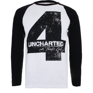 Uncharted 4 Herren Distressed 4 langärmlige Raglan Top - Weiss/Schwarz