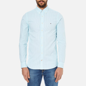 Tommy Hilfiger Men's Seersucker Long Sleeve Shirt - Blithe/Classic White