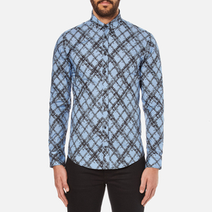 MSGM Men's Multi Logo Print Long Sleeve Shirt - Blue