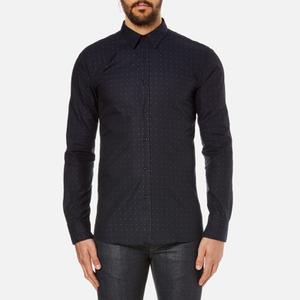 HUGO Men's Elisha Long Sleeve Dobby Shirt - Navy
