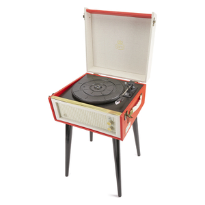 GPO Retro Bermuda Classic Style Turntable with MP3, USB, Built-In Speakers and Removable Legs - Red/Cream