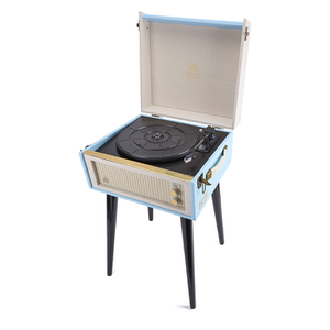 GPO Retro Bermuda Classic Style Turntable with MP3, USB, Built-In Speakers and Removable Legs - Blue/Cream