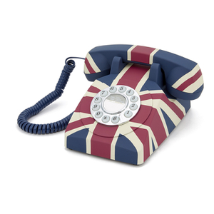 GPO Retro Vintage British Union Jack Art Deco Rotary Push Button Telephone