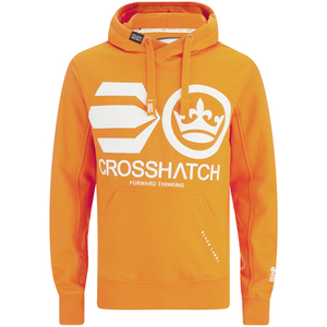 Crosshatch Men's Quon Kangeroo Pocket Hoody - Orange Pepper