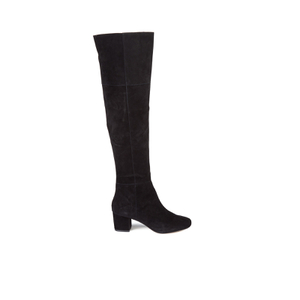 Dune Women's Sanford Suede Thigh High Heeled Boots - Black