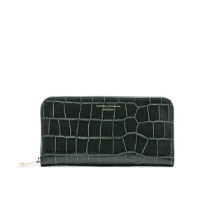 Aspinal of London Women's Continental Clutch Croc Purse - Forest Green Croc