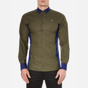Vivienne Westwood MAN Men's Basic Stretch Poplin Mix Shirt - Green Mix