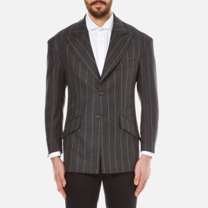 Vivienne Westwood MAN Men's Pinstripe Flannel Single Breasted Jacket - Grey Pinstripe