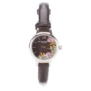 Olivia Burton Women's Flower Show Mini Dial Watch - Black Silver