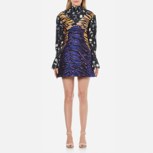 KENZO Women's Tiger Stripes Jacquard and Floral Mix Dress - Midnight Blue