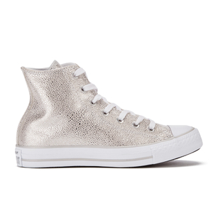 Converse Women's Chuck Taylor All Star Sting Ray Leather Hi-Top Trainers - Pure Silver/Black/White