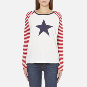 Maison Scotch Women's Long Sleeve Baseball T-Shirt with Cool Artworks - White