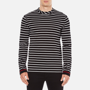 McQ Alexander McQueen Men's Long Sleeve Crew Stripe T-Shirt - Stripe White/Black