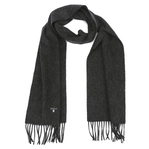Barbour Men's Plain Lambswool Scarf - Charcoal Grey