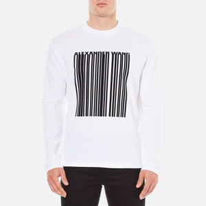 Alexander Wang Men's Barcode Logo Long Sleeve T-Shirt - White
