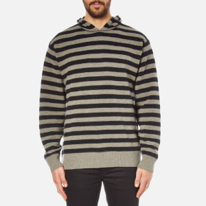 Alexander Wang Men's Striped Hoodie Pullover with Embroidered Artwork - Hemp/Black