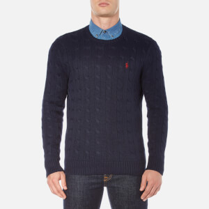 Polo Ralph Lauren Men's Crew Neck Cable Knitted Jumper - Hunter Navy
