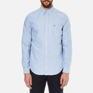 Lacoste Men's Oxford Button Down Pocket Shirt - Officer/White