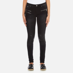 Karl Lagerfeld Women's Denim Biker Pants - Fading Black