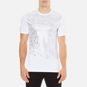 Versace Collection Men's Reflective Large Logo T-Shirt - Bianco-Stampa
