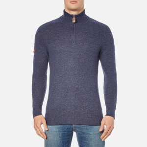 Superdry Men's Harlo Henley Jumper - Dark Indigo/Navy Twist