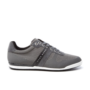 BOSS Green Men's Arkansas Knitted Suede Trainers - Dark Grey