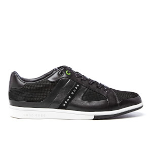 BOSS Green Men's Metro Club Tenn Leather Trainers - Black