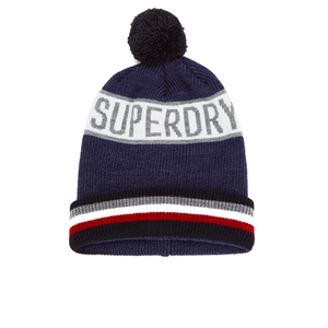 Superdry Men's Super Stripe Logo Beanie Hat - Navy Marl