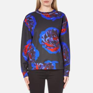 DKNY Women's Long Sleeve Comic Rose Print Pullover - Black
