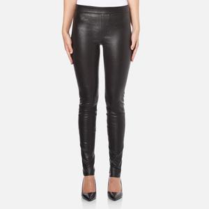 Helmut Lang Women's Stretch Leather Pants - Black