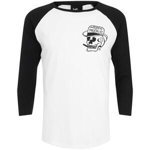 Rum Knuckles Classic Logo 3/4 Sleeve Raglan Top - White/Black