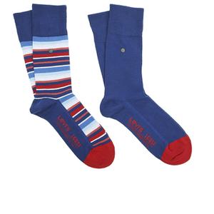 Levi's Men's 168Sf Regular Cut Stripe 2 Pack Socks - Blue